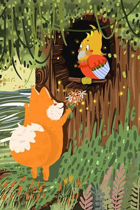 胎教故事《小狐狸送花》 分享是幸福和温
