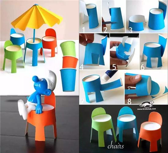 小纸杯神奇大  小纸杯手工制作 1,沙滩桌椅 用简单的纸杯和彩色卡纸做