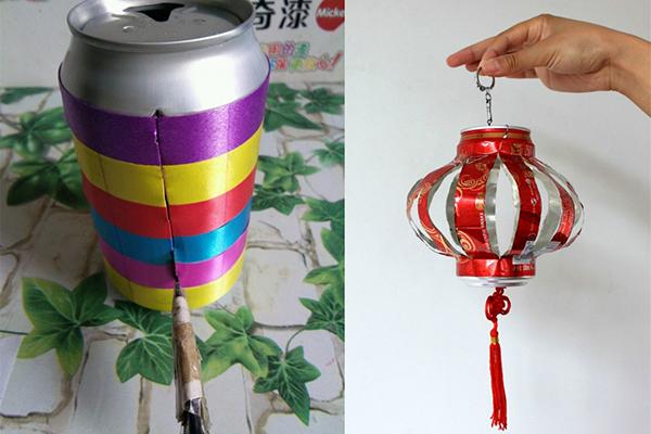 制作材料:易拉罐三个,两双环保筷子,绳子,自制彩色船帆,双面胶,橡皮