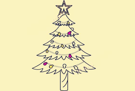 圣诞树简笔画画法 三岁小孩也能一看就会(附步骤图)