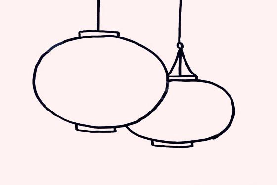 大红灯笼简笔画教程 国庆,元旦,春节手抄报的必备图