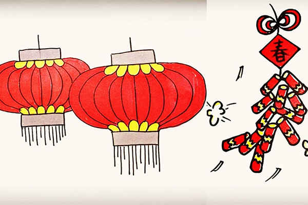 新年主题:灯笼、鞭炮简笔画画法步骤